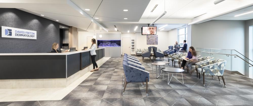 Dawes Fretzin project highlight reception area wide view