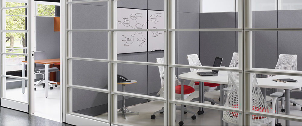 Conference room with window walls
