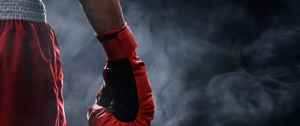 Generic stock photo of boxer with boxing glove