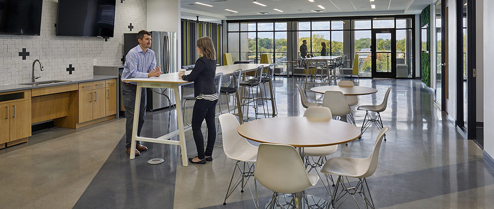 MJ Insurance Project Highlight: wide shot of break room area