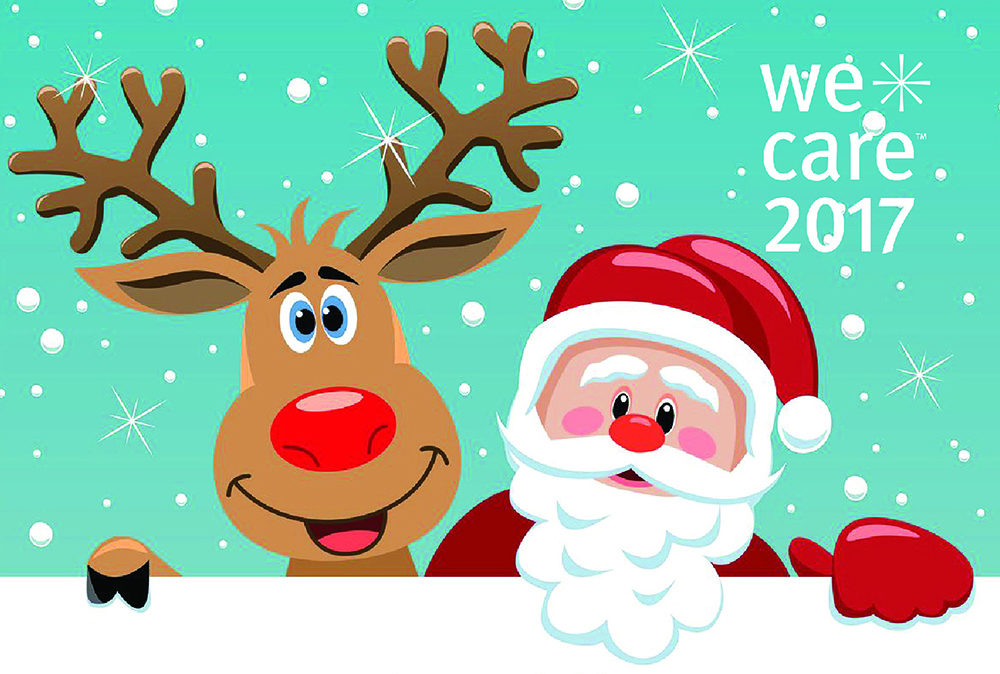 WeCare 2017 santa and reindeer graphic