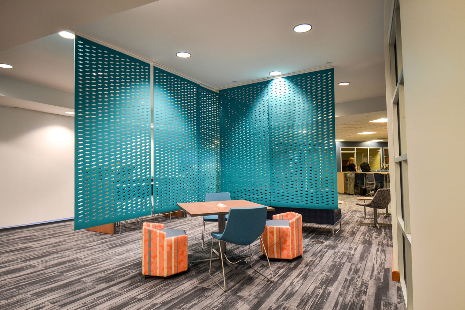 Prof. Services Firm Project Highlight: divider partition wall and table space