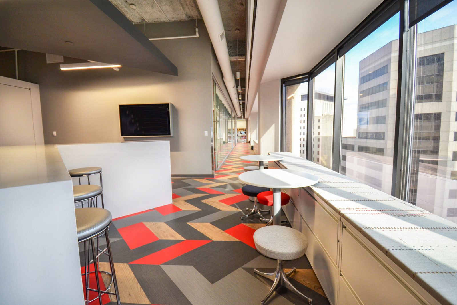 CW Project Highlight: hallway and work tables by window