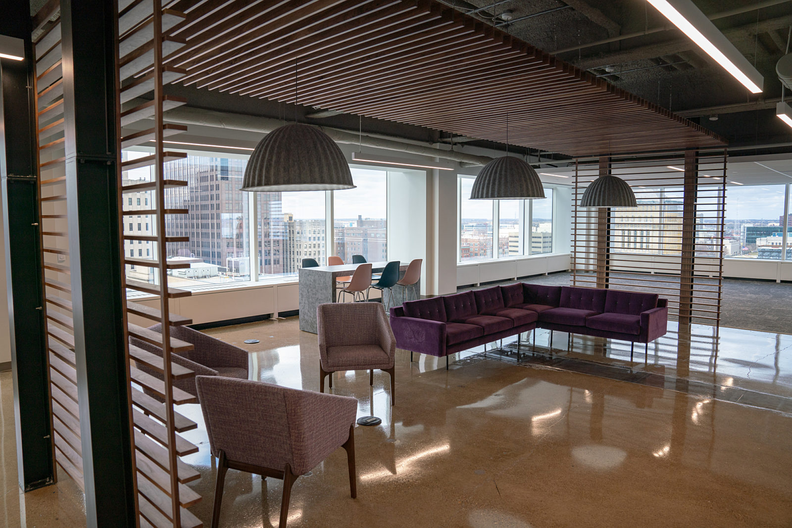 Lev Project Highlight: open lounge seating area back view
