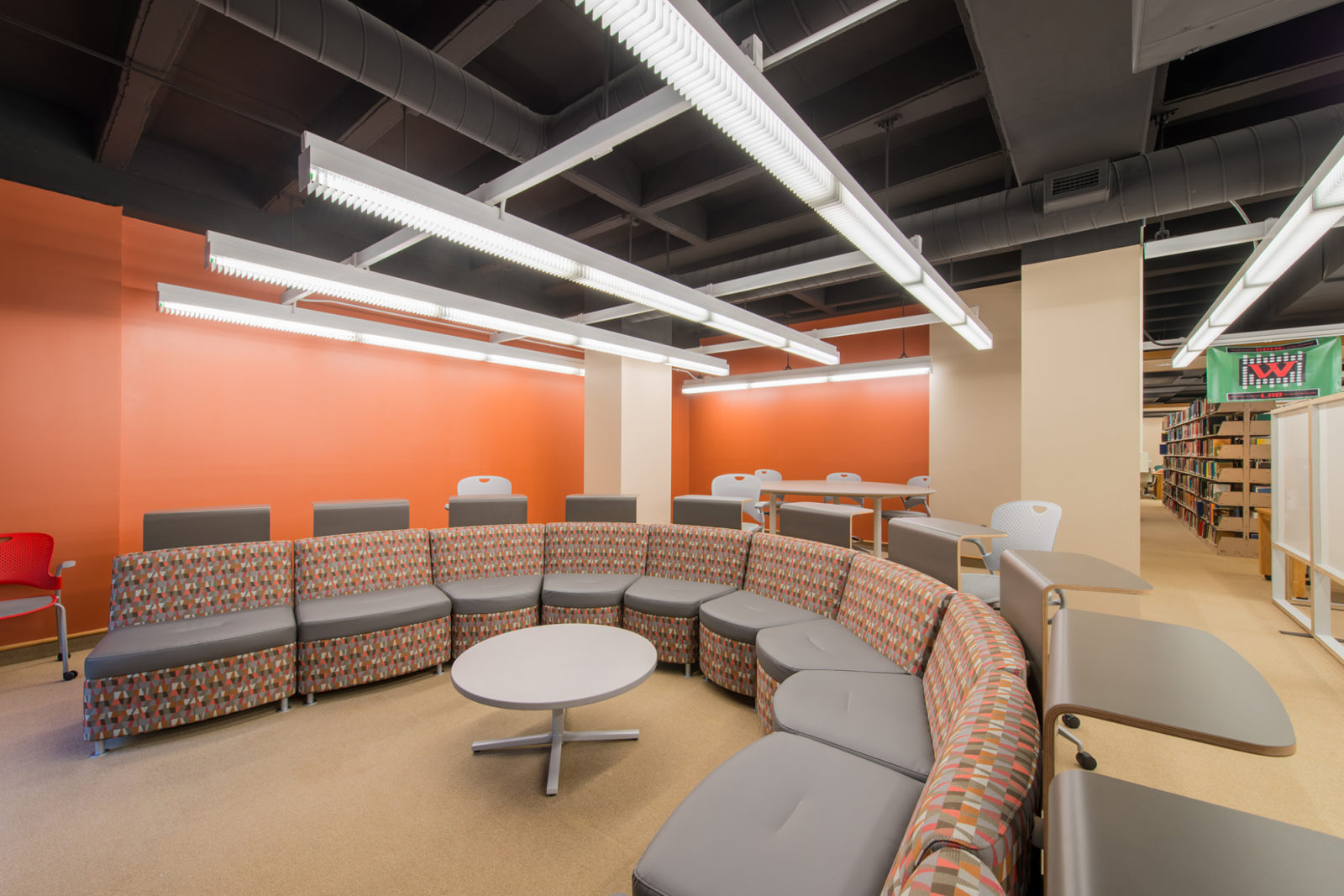 Wabash Project Highlight: Horseshoe discussion seating space