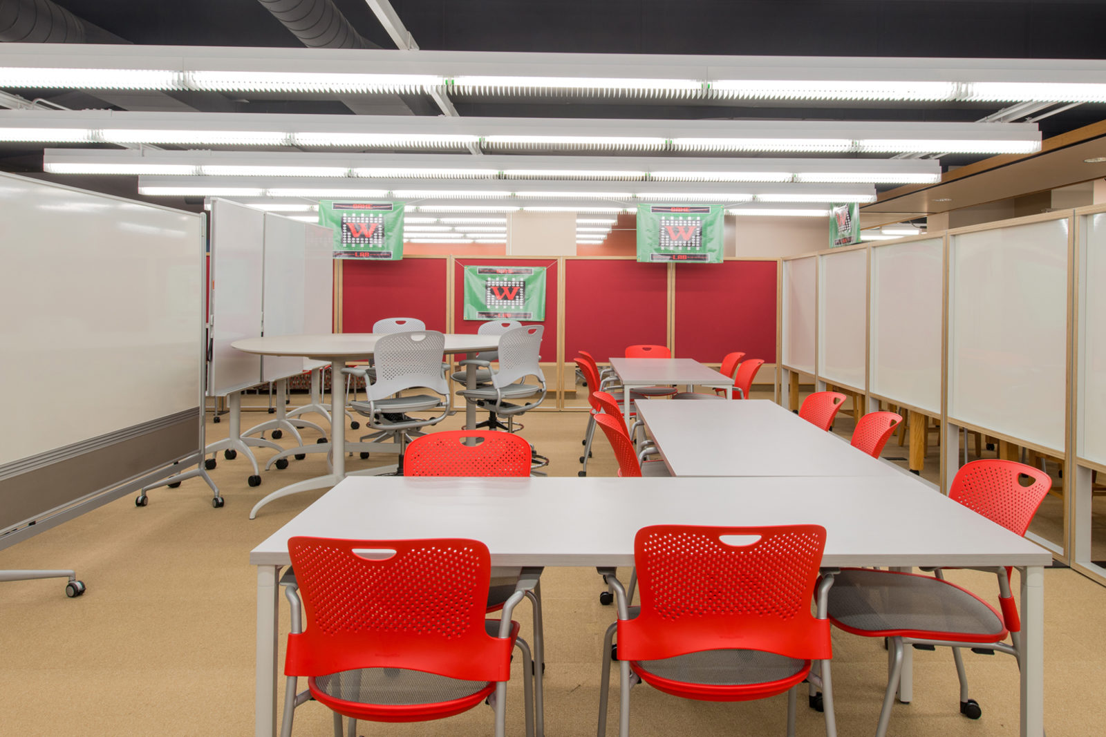 Wabash Project Highlight: tables, chairs and whiteboards learning space