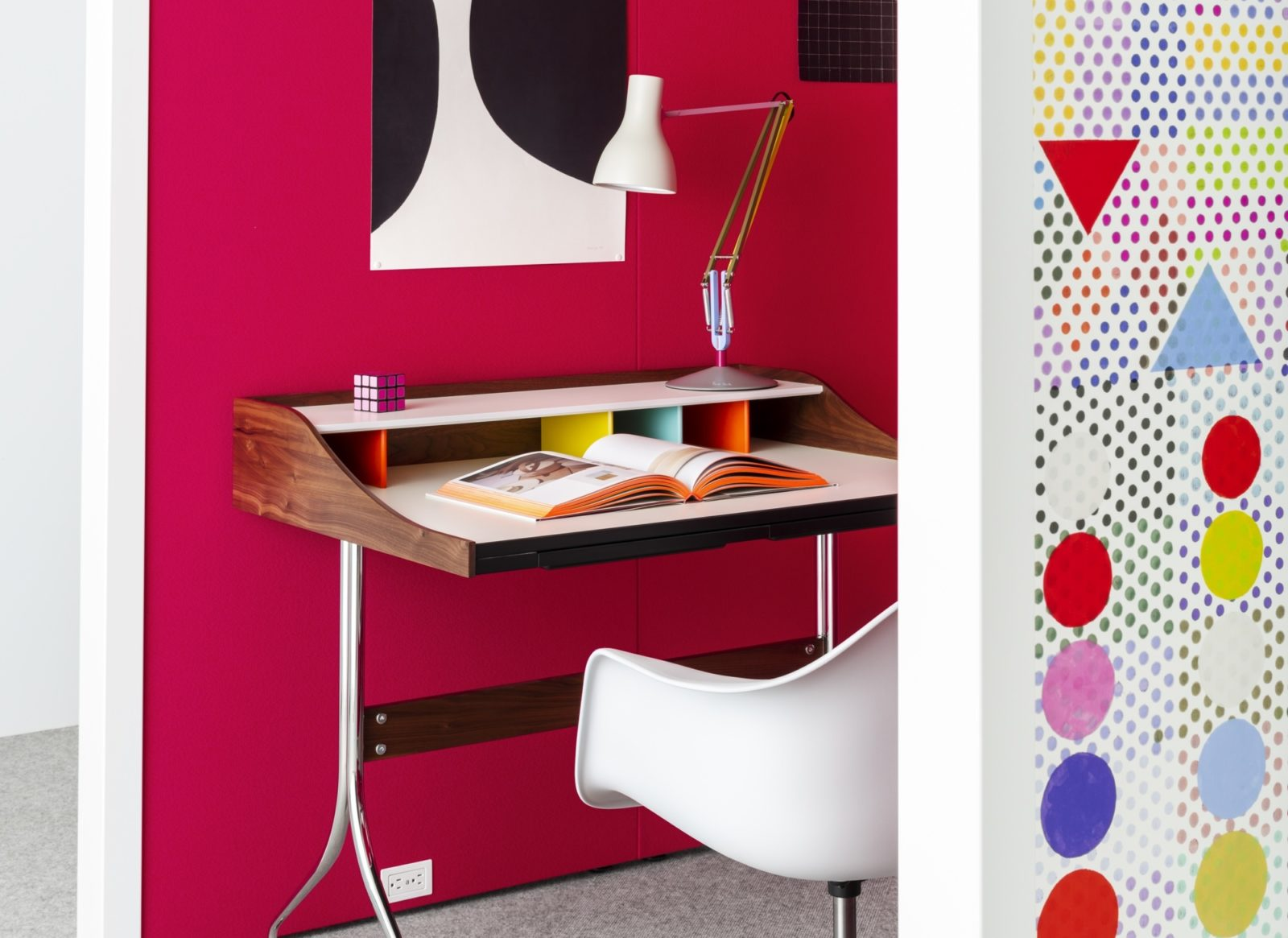 overlay desk and chair highlight patterned wall