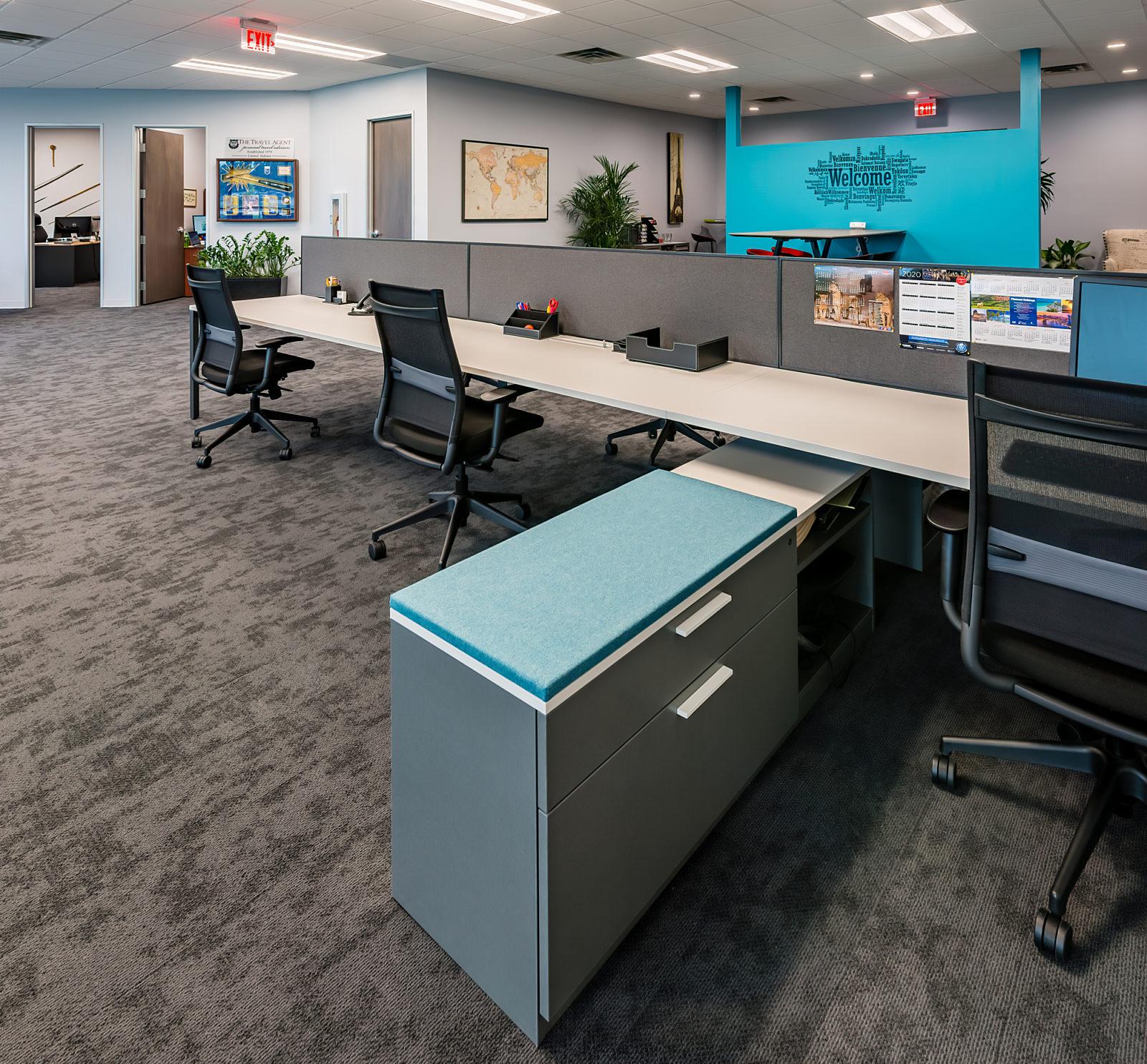 Travel Agent office renovation, desk workstations