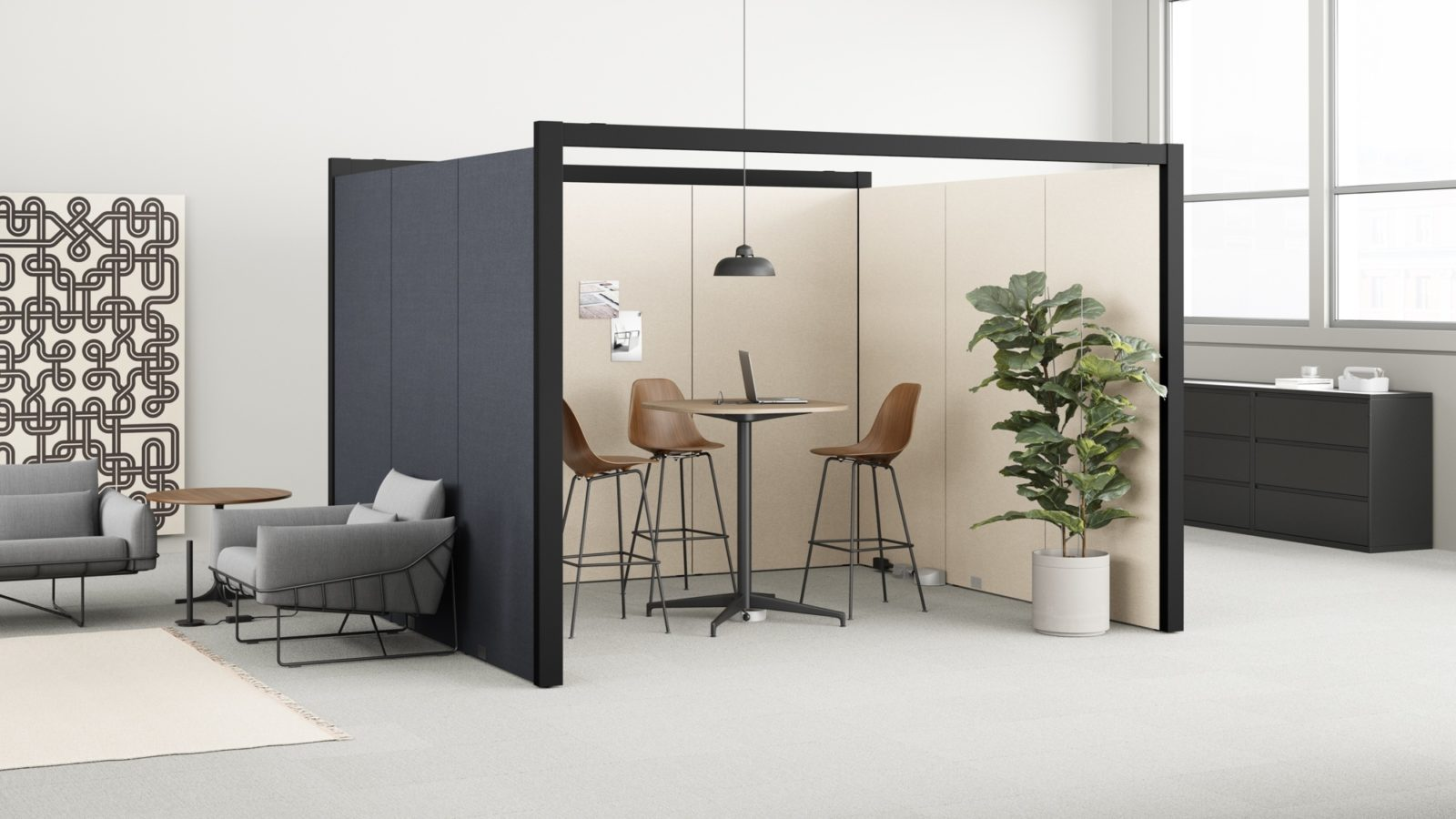 overlay office divider with table and chairs