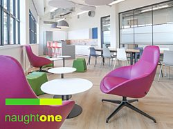 Naughtone purple chairs open office