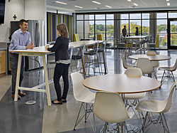 MJ Insurance Project Highlight: wide shot of break room area