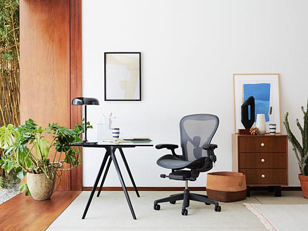 herman miller aeron chair and desk