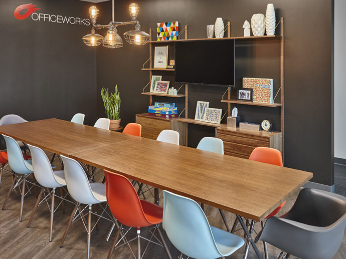 Full view of the dining table and eating area in OfficeWorks office