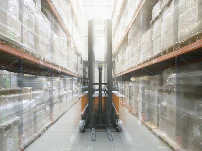 warehouse image of forklift