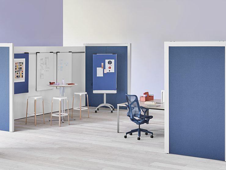 Herman Miller Overlay: Workshop set up configuration, blue and white color scheme