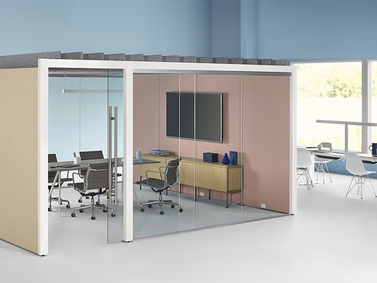Herman Miller Overlay: meeting space set up configuration, glass divider walls