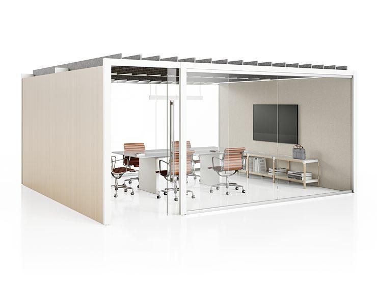 Herman Miller Overlay: meeting space set up configuration light beige color scheme