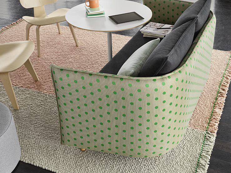 Maharam design and innovation, green textile with polka dots