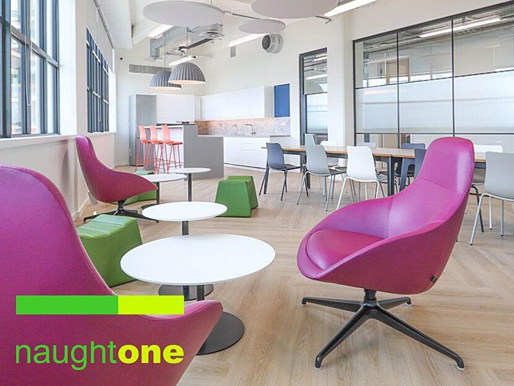 Naughtone purple chairs open office