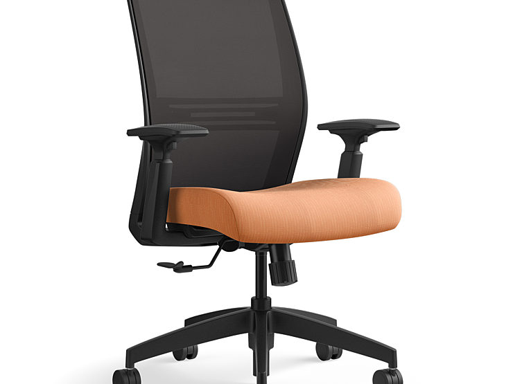 Amplify chair, orange cushion with black back rest