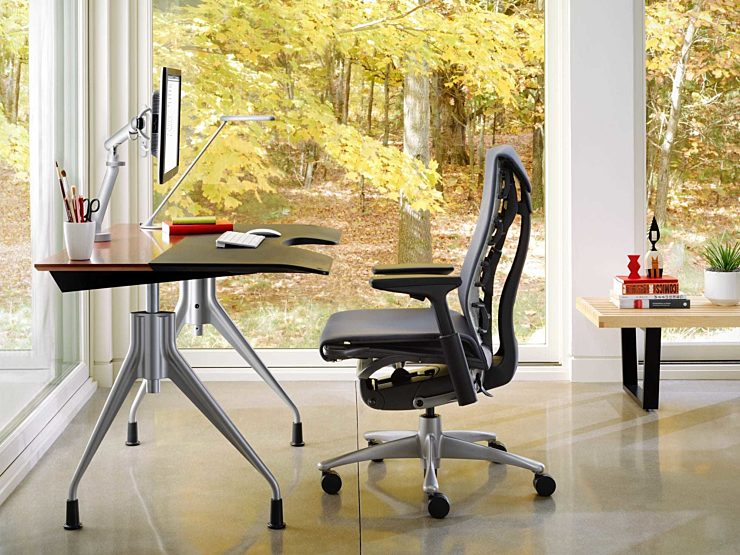Embody chair at desk showing fall setting outdoors