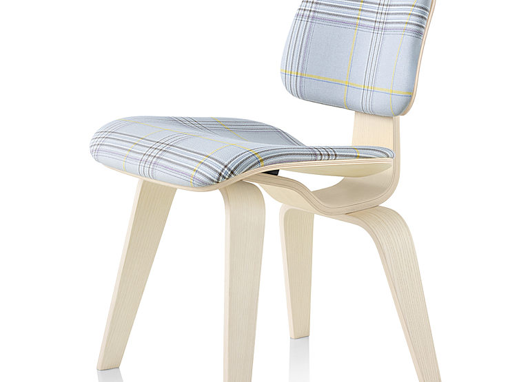 Maharam Herman Miller exclusive collection, plaid fabric wooden chair