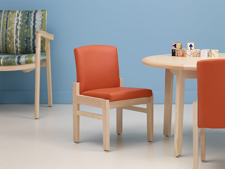 Nemschoff Pediatrics orange chair and table