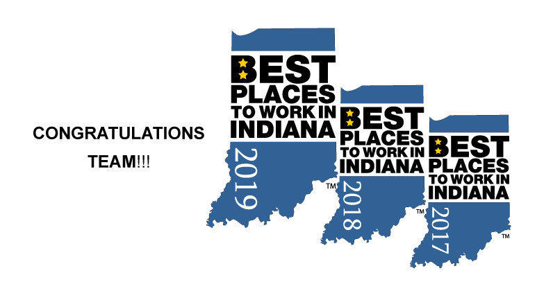 Best Places to Work in Indiana 2017-2019 graphic banner congratulating team