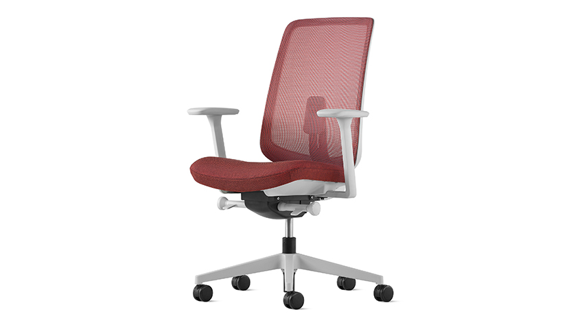 Versus chair, red with white background