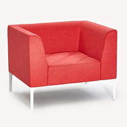 A red naughtone Hatch Lounge Chair, viewed from an angle