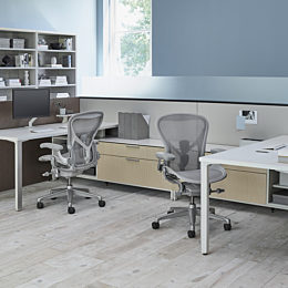 A Canvas Office Landscape Hive setting with grey Aeron office chairs.