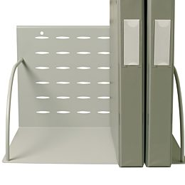 Space-efficient holders keep supplies in view and reach while keeping clutter from work surface, binder shelf holding two binders