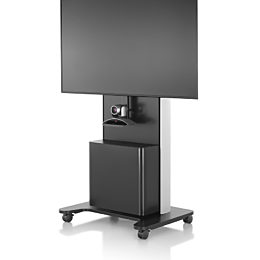 Front view of a black AV/VC One technology cart with a webcam and large digital display