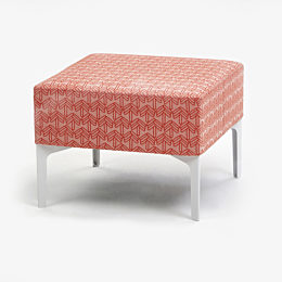 Symbol Single Stool with red and peach patterned upholstery and white leg base viewed from the front at an angle
