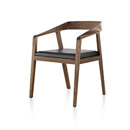 Full Twist Guest Chair with a medium wood finish and black seat pad, viewed from the front