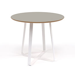 A round naughtone Frog Café Table with a gray top and white base, viewed at an angle