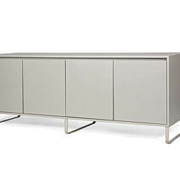 A gray naughtone Sideboard Storage with metal base, viewed at an angle.