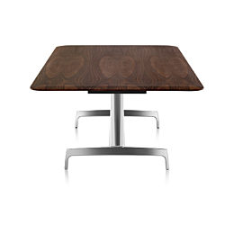 Shortview of AGL Group Table with dark oak top and polished aluminum base