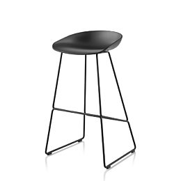 Front angled view of black About A Stool with metal base
