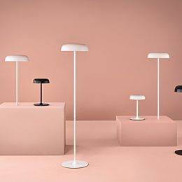Four white Ode Lamps and two black Ode Lamps, including table, sofa, standing-height, and surface-integrated models.
