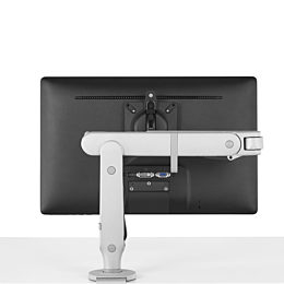 Ollin Monitor Arm single screen back view, attached to work surface