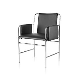 Front view of black Envelope chair, angled at 45 degrees