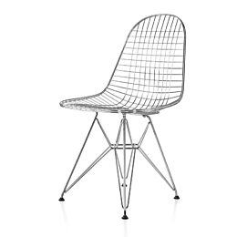 All chrome Eames Wire Chair side view
