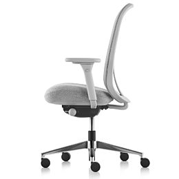 Gray Lino Chair with adjustable sacral lumbar support, viewed from the side.