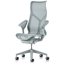 Angled front view of light blue high back Cosm office chair with wheels and armrests