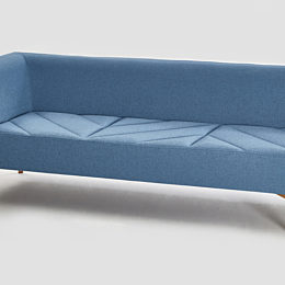 Blue Hatch Modular Seating, three seat right arm model with medium wood legs