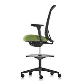 Black and green Lino Stool with adjustable sacral lumbar support, viewed from the front at an angle.