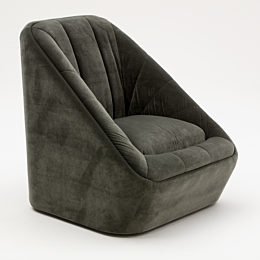 Front 45 degree angle of a dark green naughtone Fiji Chair