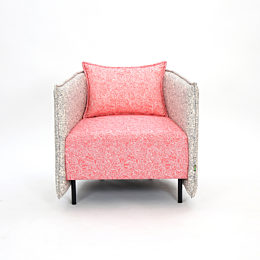 naughtone Cloud Plain Armchair with grey and cream surround and coral seat and seatback, viewed from the front