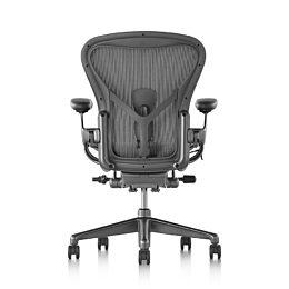 Rear view of a black Aeron office chair.